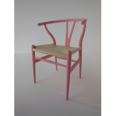 Wishbone Chair - Pink with Natural Seat