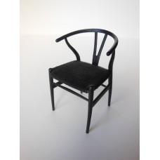 Wishbone Chair - Black with Black Microsuede Seat