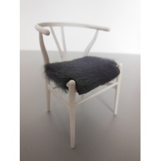 Wishbone Chair - White with Gray Hide Seat