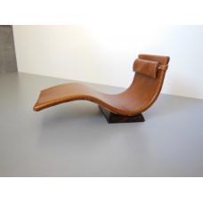 Tan Leather Chaise with Wood Base