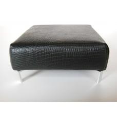 Ottoman in Black Croc Leather