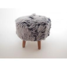 Gray Faux Fur Stool