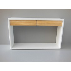 Emerson Console Table with White Base and Cypress Drawers