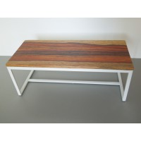 Parsons Dining Table - White Base with Cocobolo Top