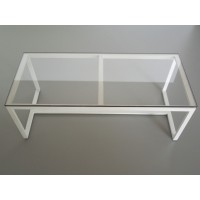 Parsons Dining Table - White Base with Glass Top