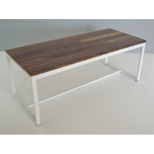 Parsons Dining Table White Base With Walnut Top