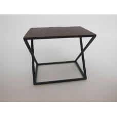 Wide Scissor Side Table in Rust