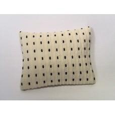 Cream Black Dash Large Rectangle Pillow