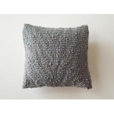 Gray Textured Medium Square Pillow