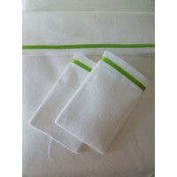 White Sheet Set with Thin Green Satin Band