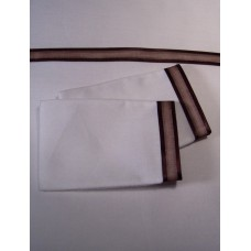 White Sheet Set with Wide Brown Satin Edge