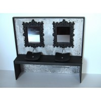Urban Dual Vanity with Gray Plaster Wall