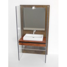 Industrial Single Vanity with Aluminum Shelf and Light Fixture