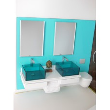 Dual Vanity Unit with Toilet - White Top with Blue Back Wall