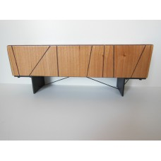 Cole Entertainment Console in Cherry with Black Base