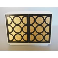 Linden 2 Door Cabinet in White/Gold/Black