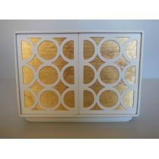 Linden 2 Door Cabinet in White/Gold/White