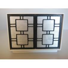 Linden 2 Door Cabinet in White/Silver/Black
