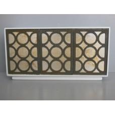 Linden 3 Door Cabinet in White/Gold/Black