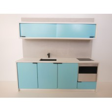 Efficiency Kitchen with Upper Cabinet in Blue