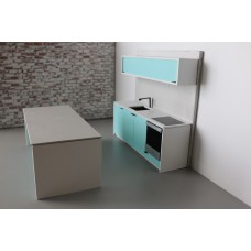 Efficiency Kitchen with Island in Blue