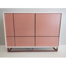 Mid Century Cabinet in White with Coral Doors