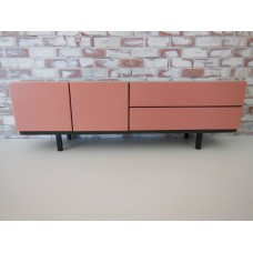 Mid Century Console in Gray with Coral Doors