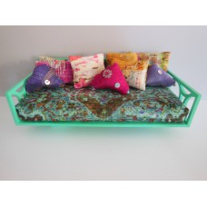 Cortez Daybed with Teal Frame and Moroccan Print Mattress and Pillows