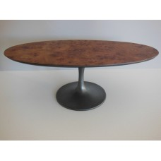 Oval Burlwood Table with Rubbed Bronze Tulip Base